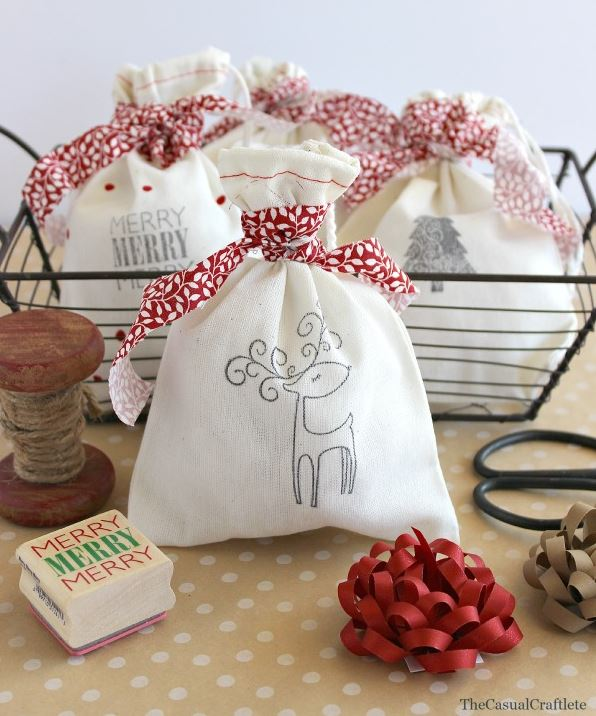 Stamped Christmas Gift Bags