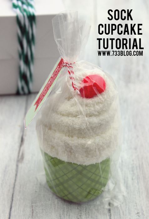 sock cupcake gift