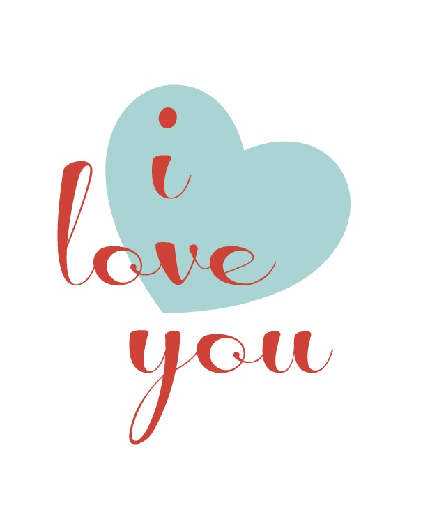 I love you heart printable