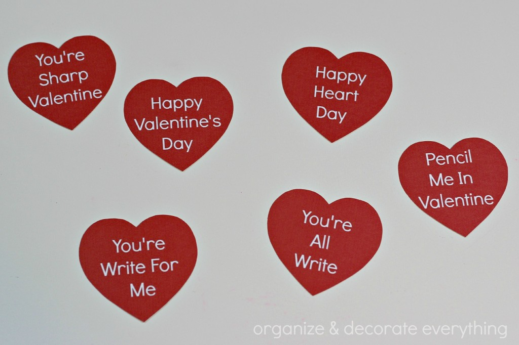 Pencil Valentine with free Printable 8.1