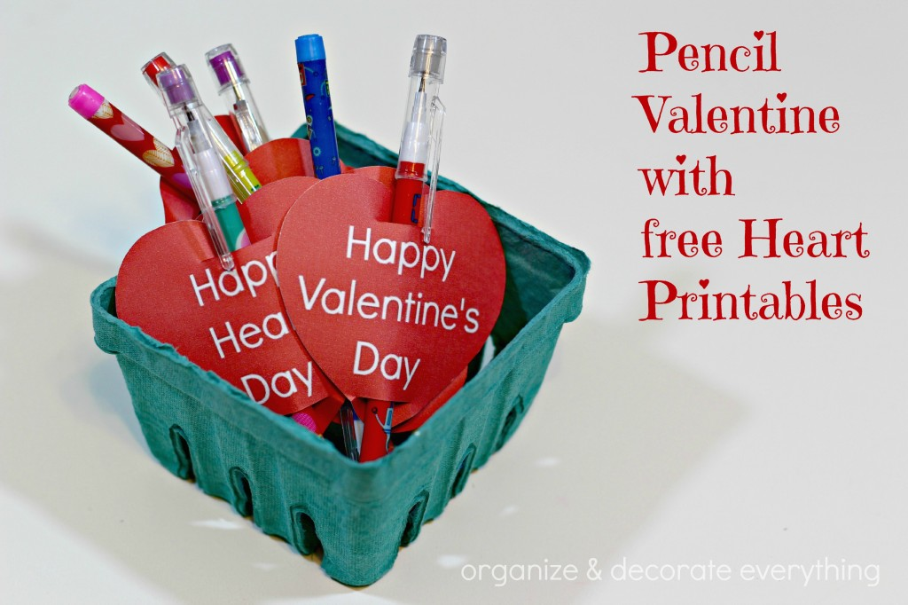 Pencil Valentine with free Printables