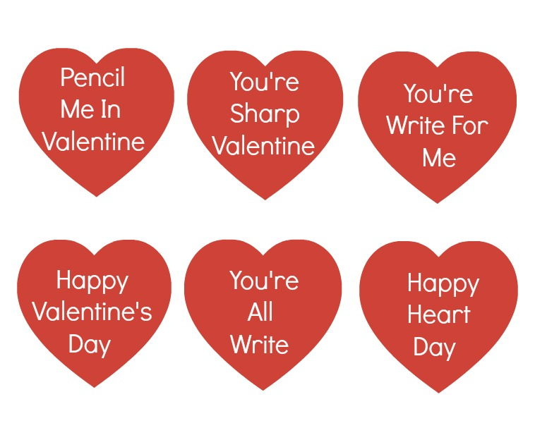 Printable for Valentine Pencils