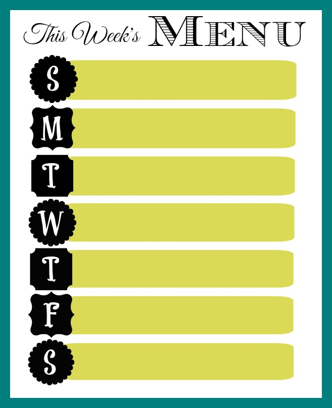 Weekly Menu Printable - Organize and Decorate Everything