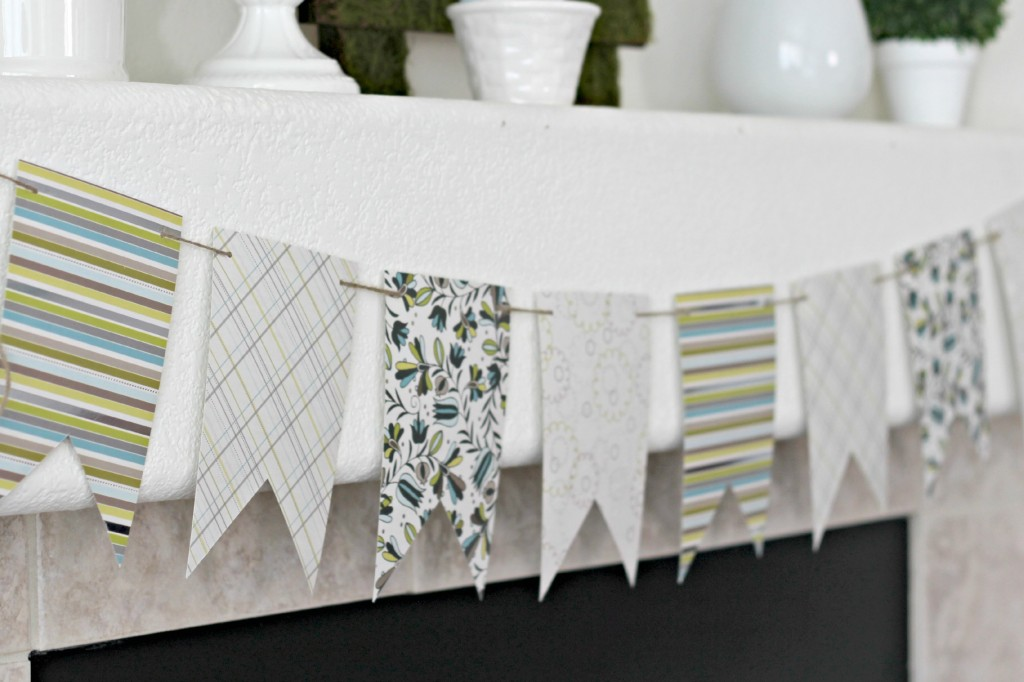 Green and White Easter Mantel banner .1