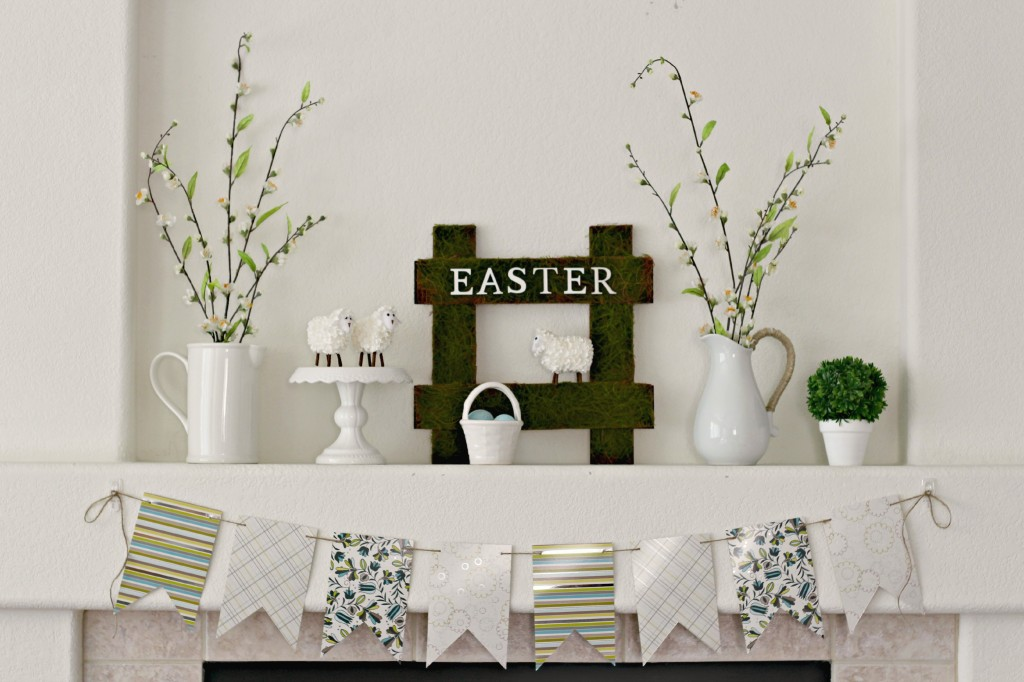 Green and White Easter Mantel horizontal .1