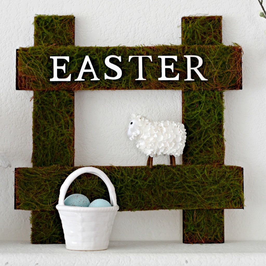 Green and White Easter Mantel sign .1