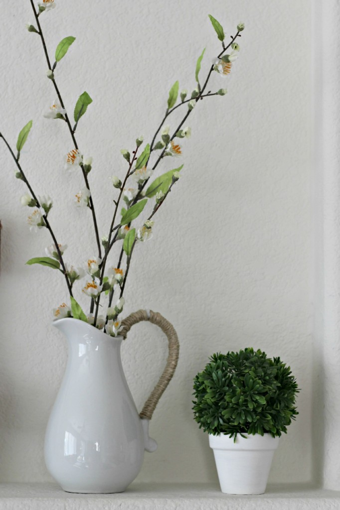 Green and White Easter pitcher and topiary .1