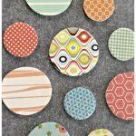 Wood Disc Magnets using Scrapbook Paper