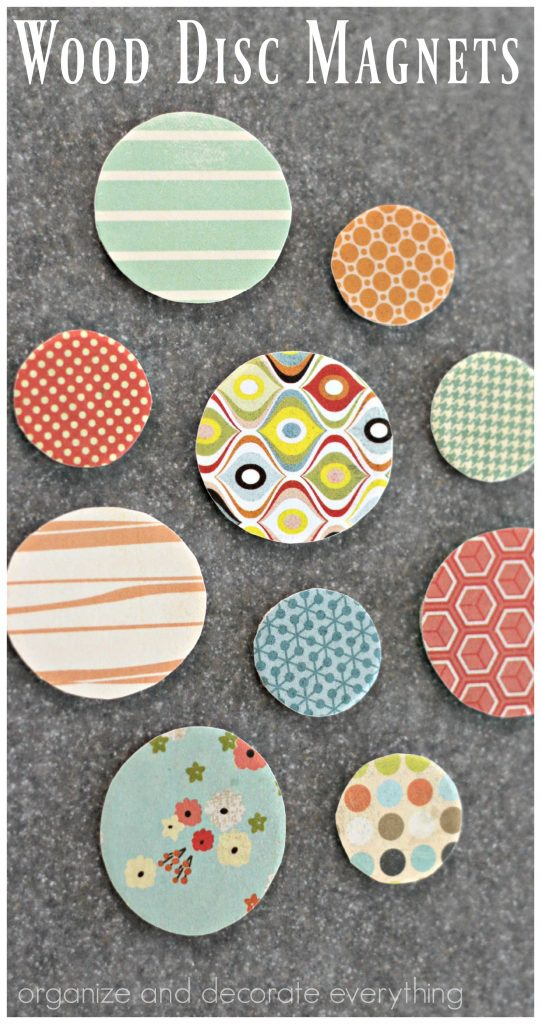 Wood Disc Magnets covered in scrapbook paper