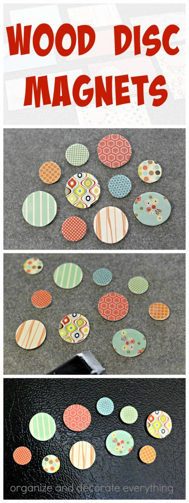 Wood Disc Magnets covered with Scrapbook Paper