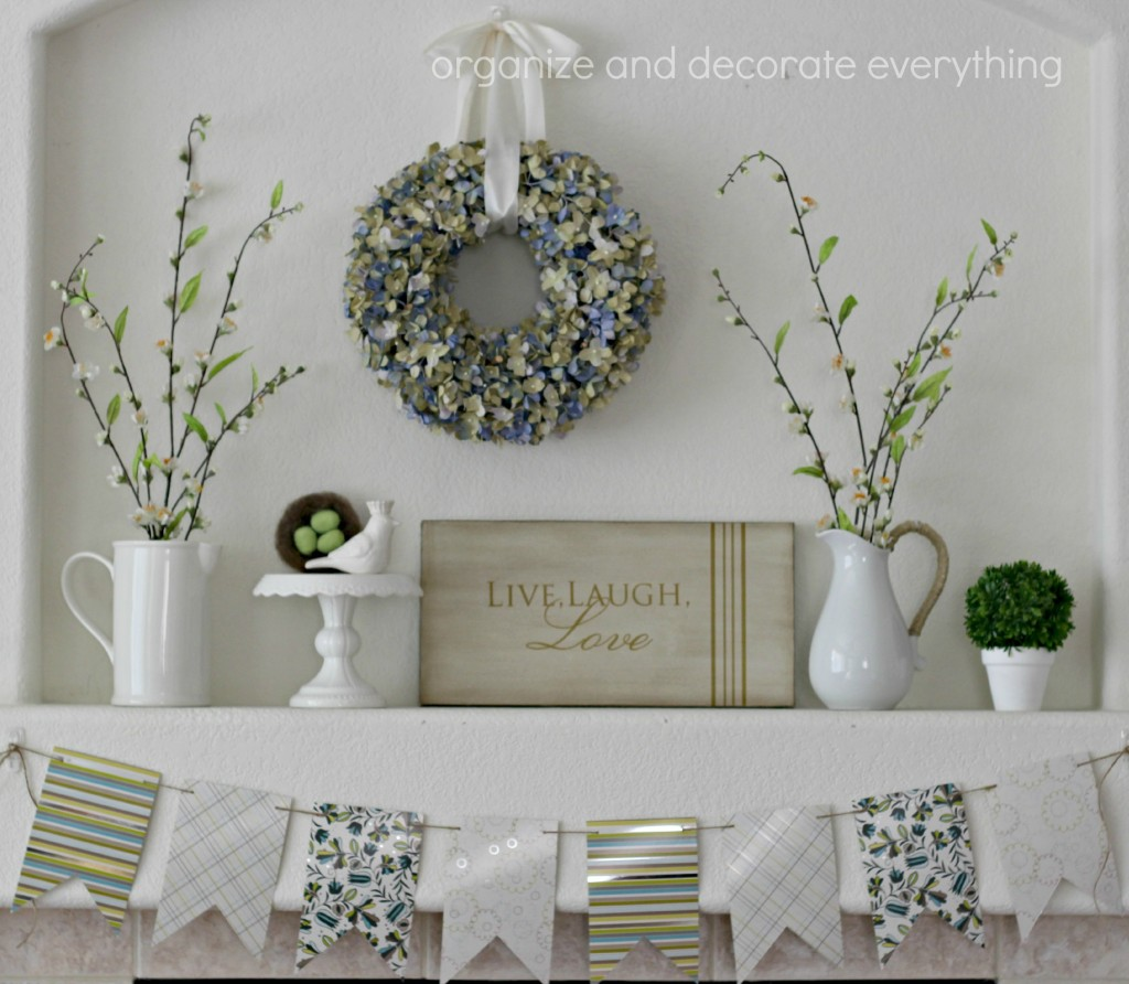 Floral Spring Mantel with bird