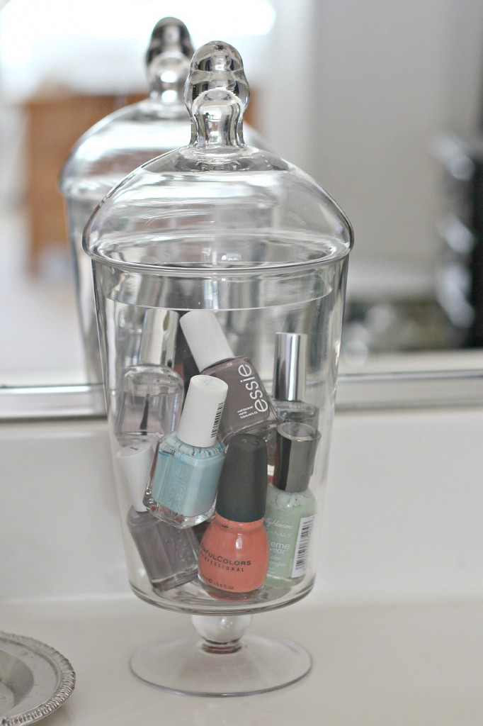 Nail Polish organized in jars :: OrganizingMadeFun.com