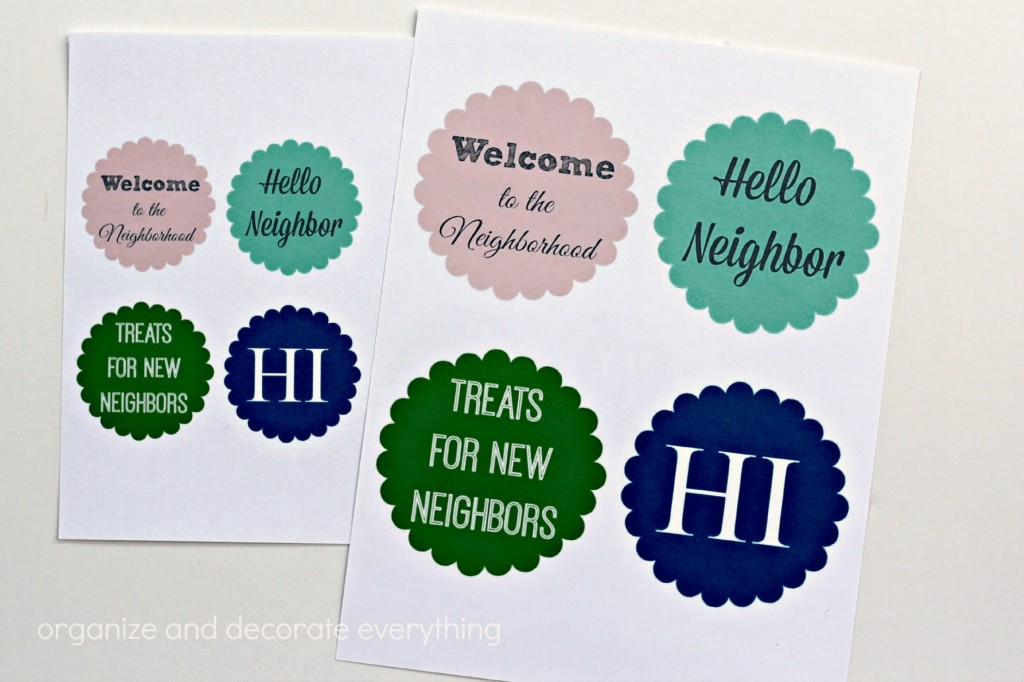 Neighbor Gift Ideas printables