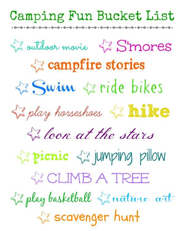 camping fun bucket list