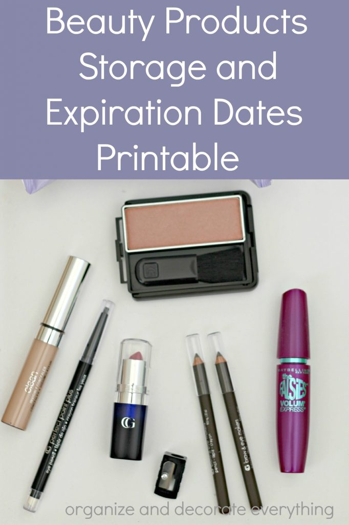Beauty Products Storage and Expiration Dates Printable
