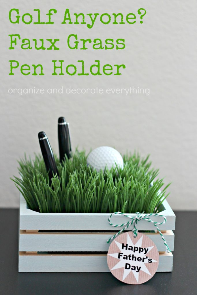 faux grass pen holder father's day