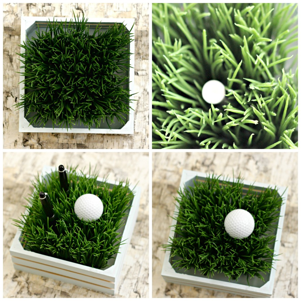 Faux Grass Pen Holder collage