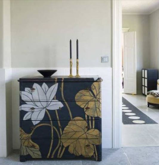 How to Decorate with FLorals - dresser