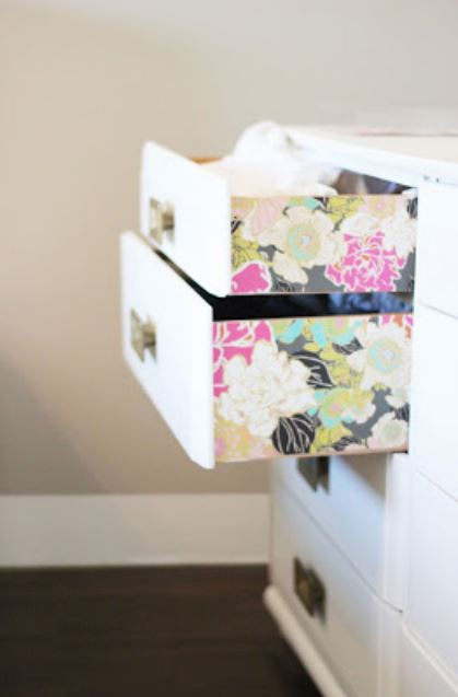 How to Decorate with Florals - dresser drawers