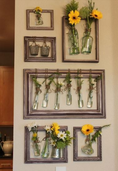 How to Decorate with Florals - framed flowers in vases