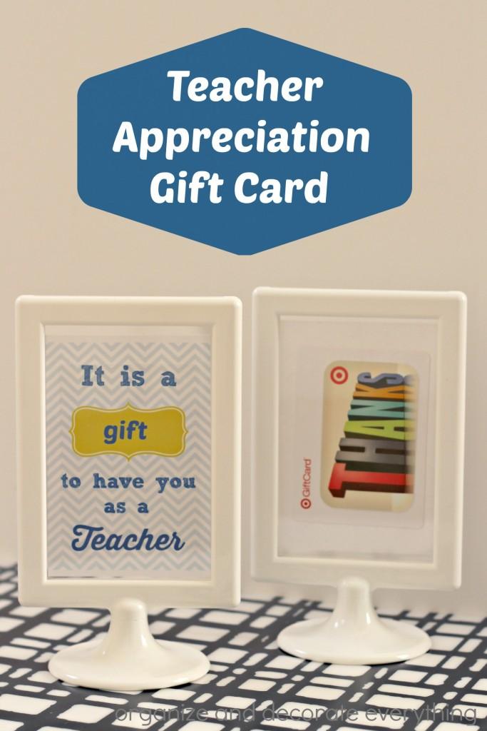 Teacher Appreciation Gift Card idea and Printable