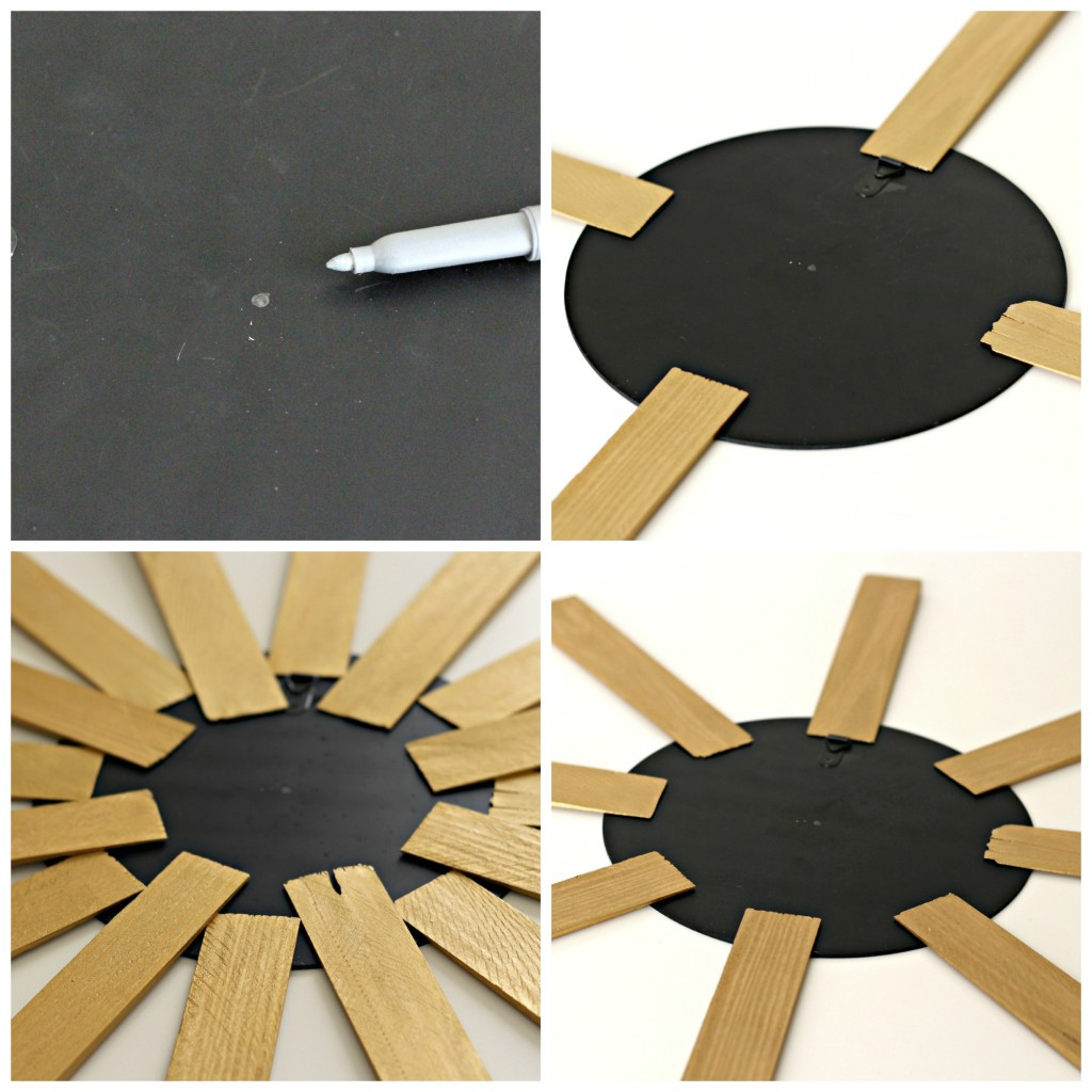 Wood Shim Sunburst Mirror assembly collage