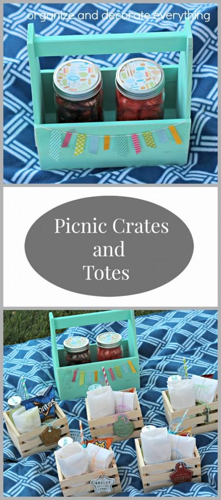 Individual Picnic Crates and Totes are perfect for Summer picnics at the park