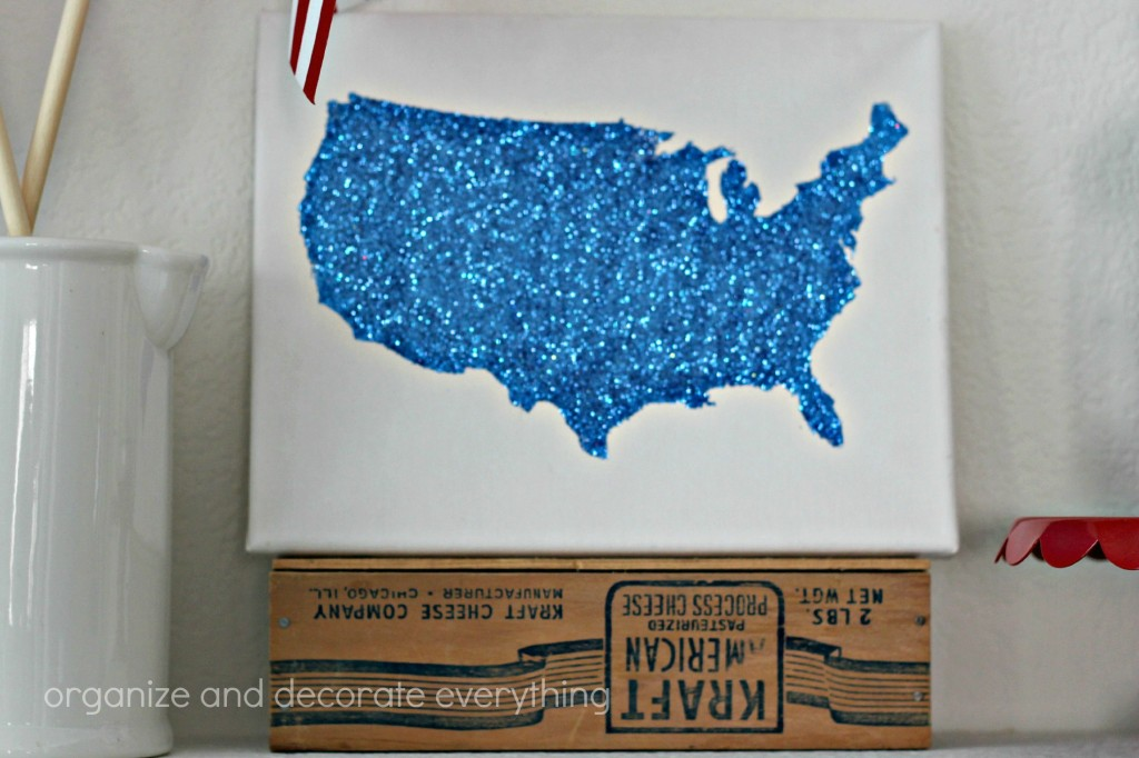 Patriotic Mantel glitter map