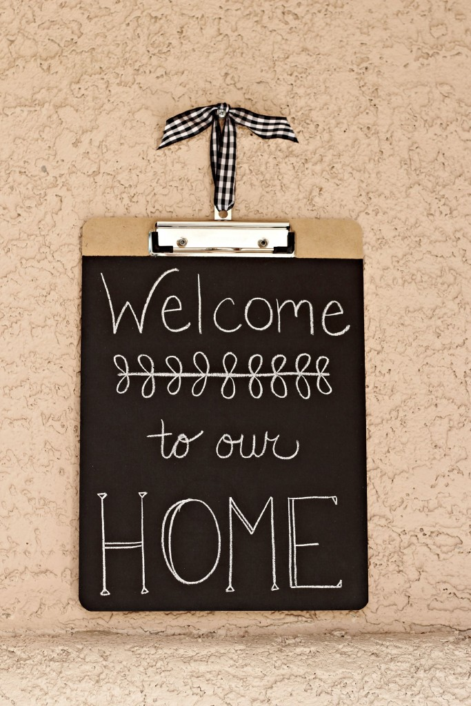 Chalkboard Clipboards Welcome to our Home sign