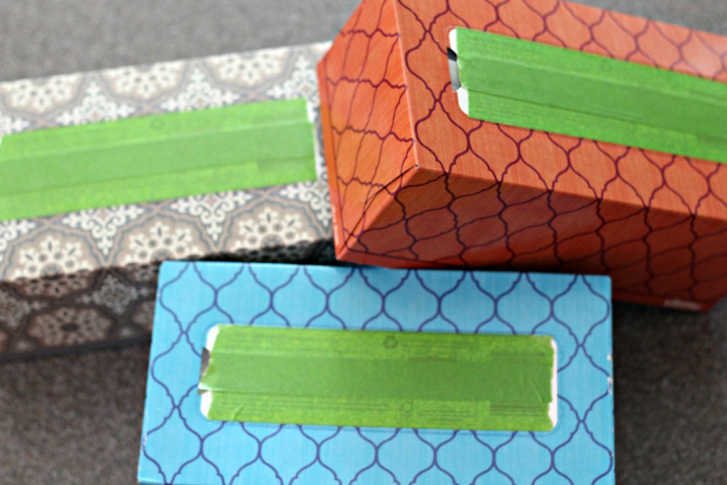 Chalkboard Tissue Boxes taped