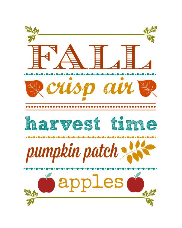 Fall Word Art Printable