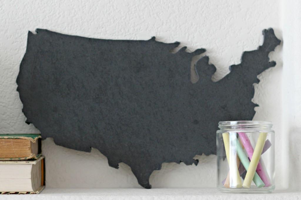 School Mantel chalkboard map.1