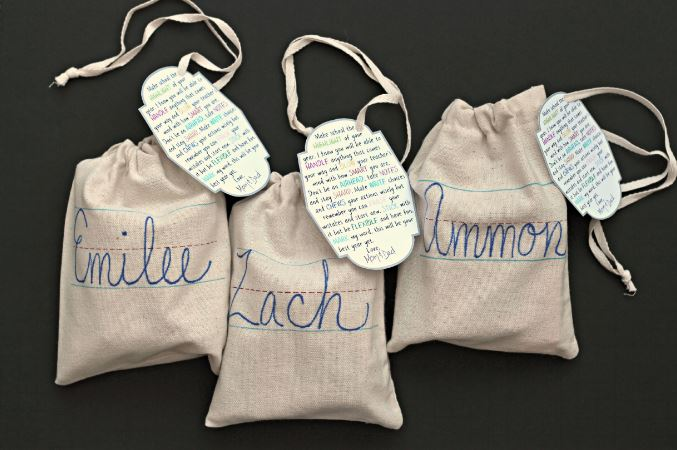 back to school gift bags with tags