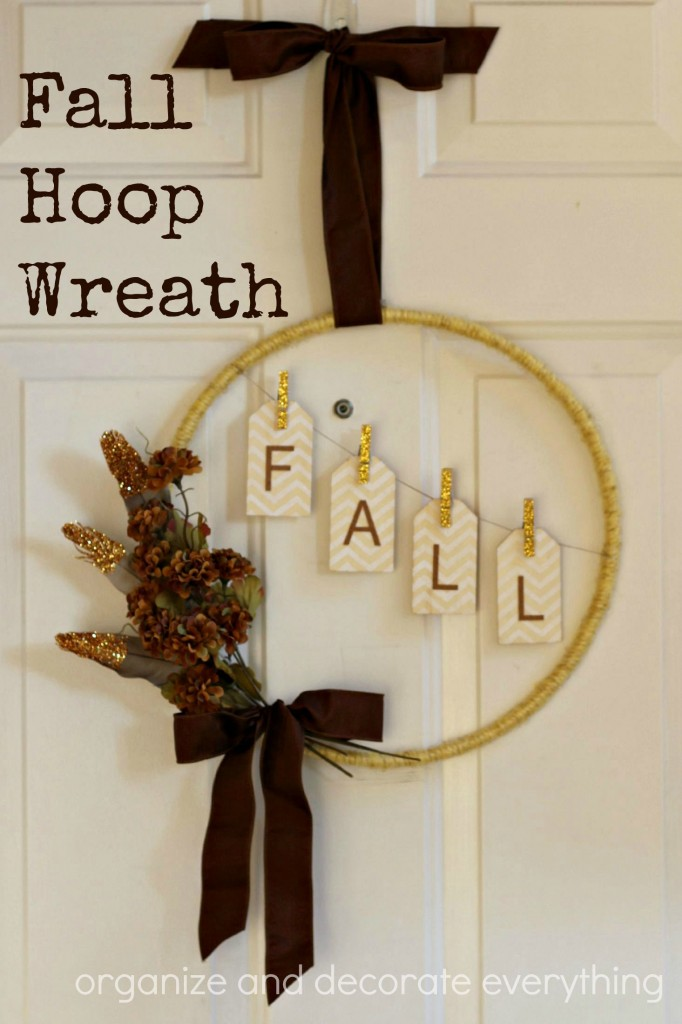 Fall Hoop Wreath with hanging tags and a touch of Glitter