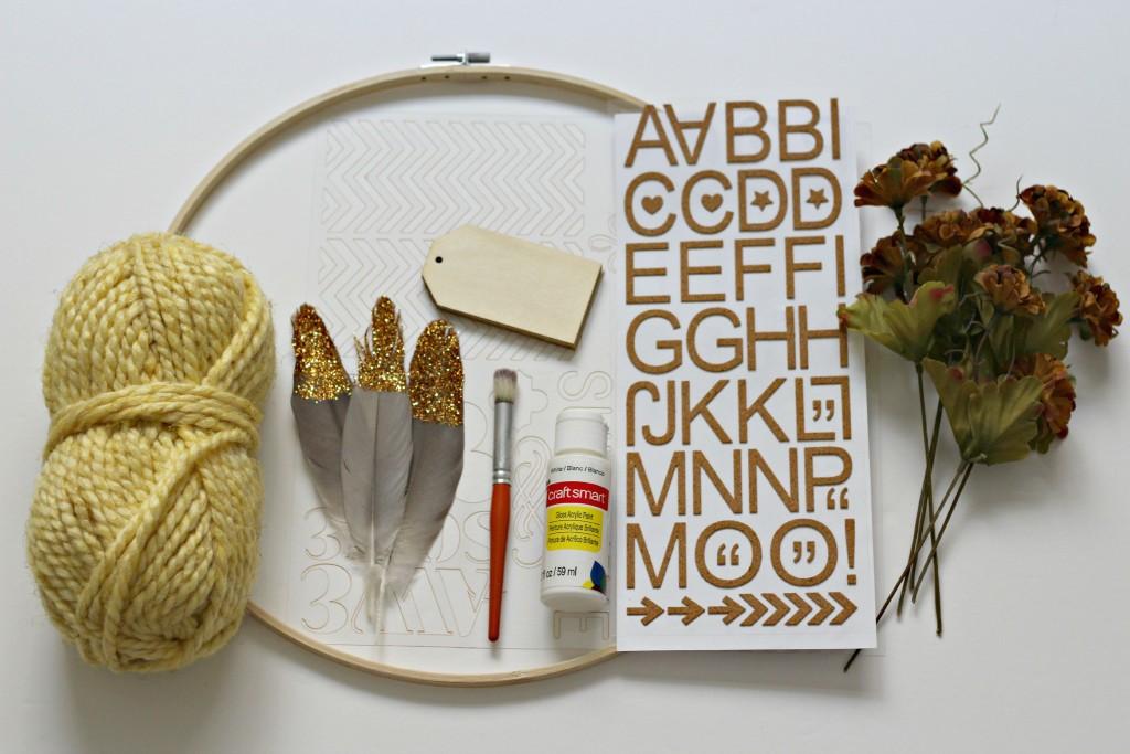 Fall Hoop Wreath supplies