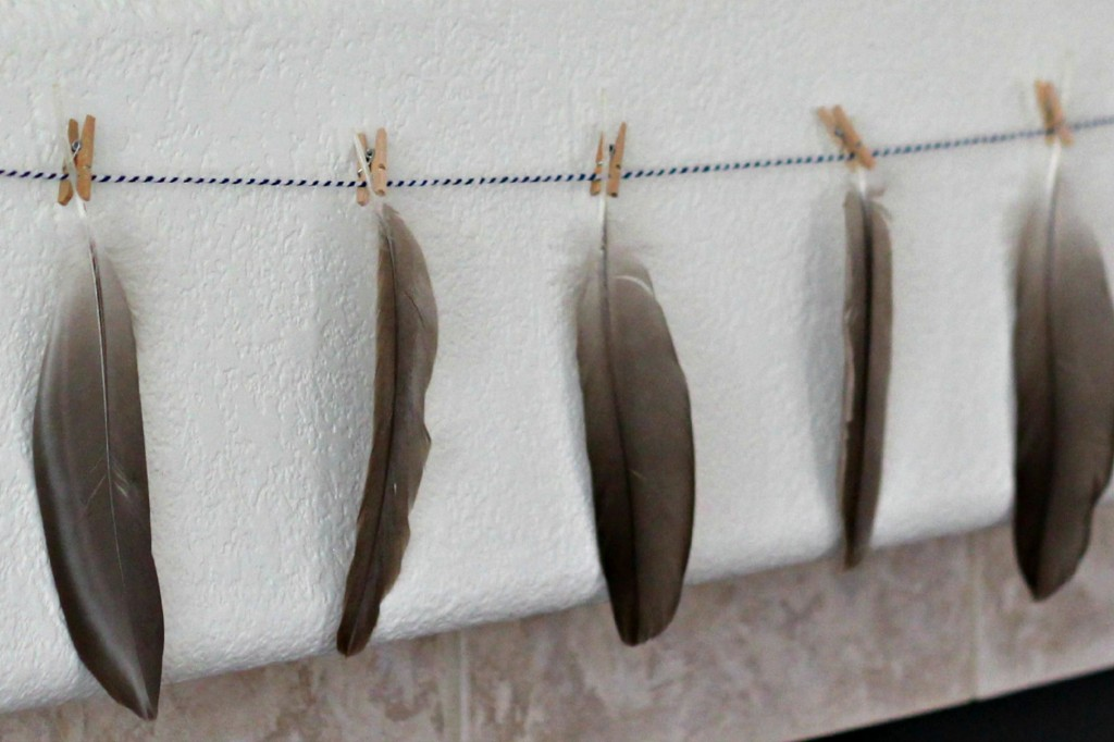 Hello Fall Mantel feather garland