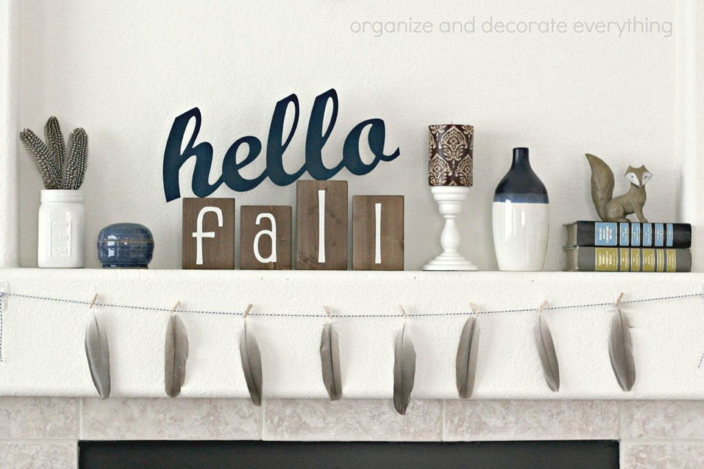 Hello Fall Mantel with garland