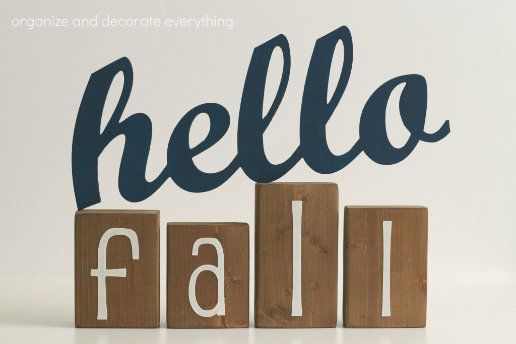 Hello Fall sign and blocks