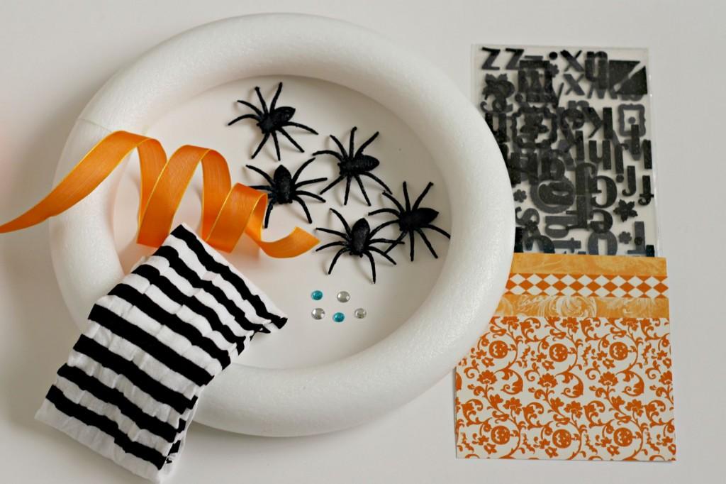 Spooky Spider Wreath supplies