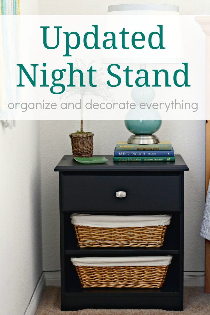 updated night stand using paint baskets and a new knob
