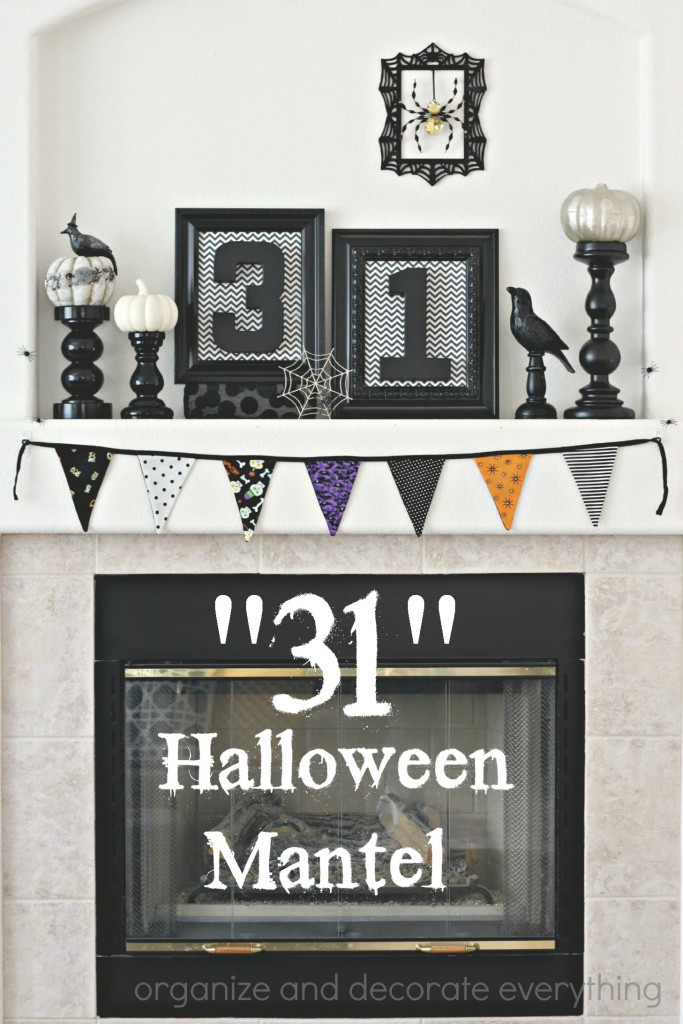 31 Black and White Halloween Mantel