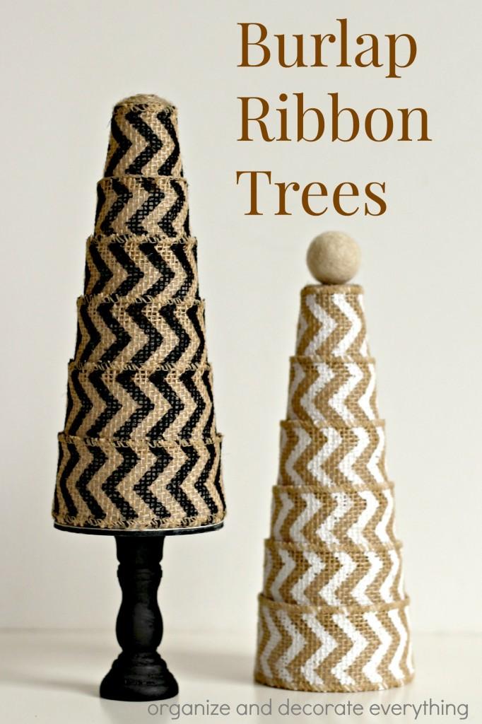 Burlap Ribbon Trees
