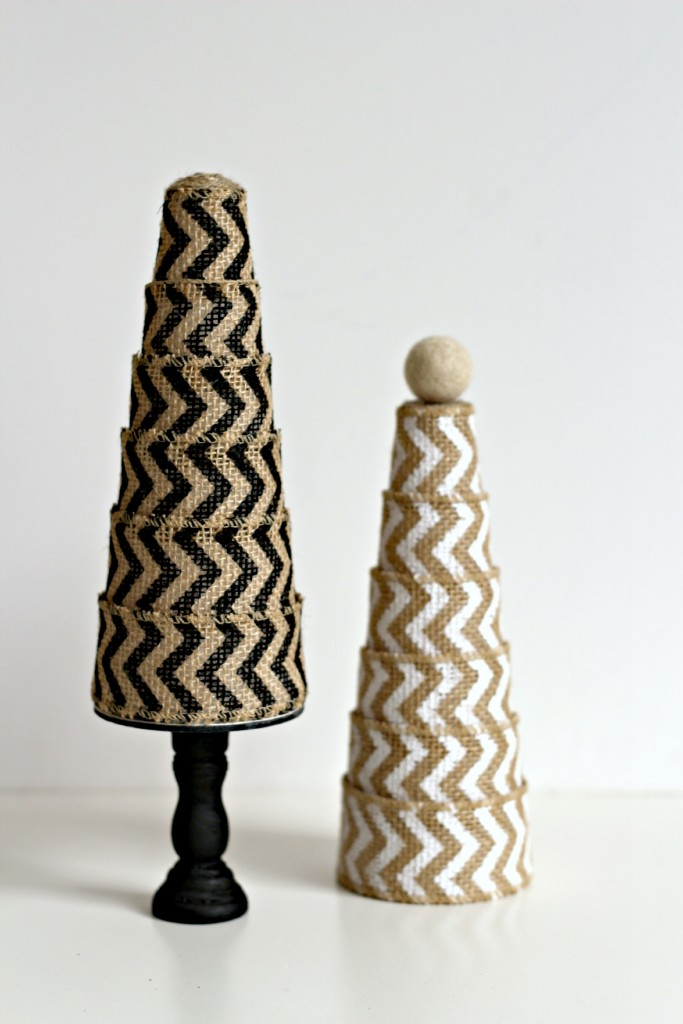 Burlap Ribbon Trees.6