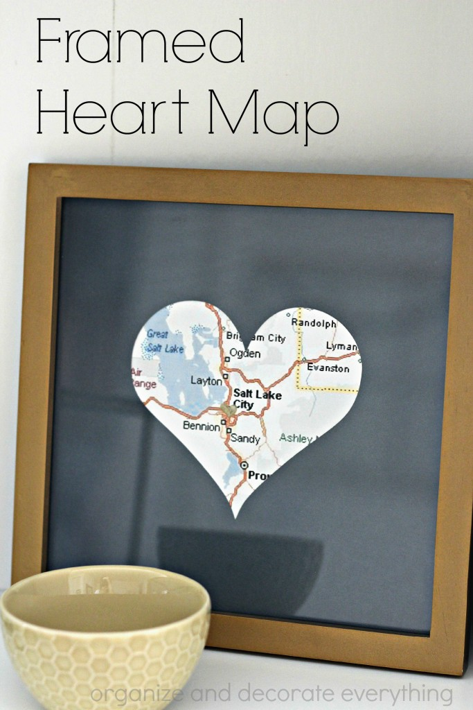 Framed Heart Map to remember the place you first met, got married, bought your first home together, or started your family