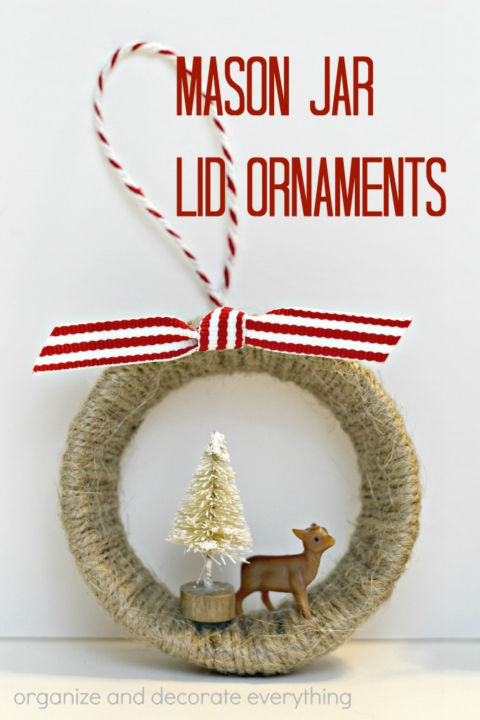Mason Jar Lid Ornaments - 15 minute craft project