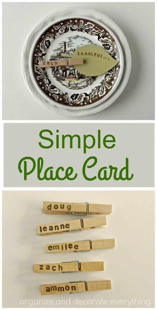 Simple Clothespin and Leaf Place Card