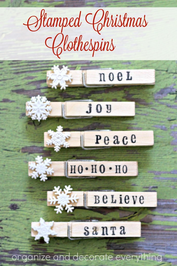 Stamped Christmas Clothespins can be used to hang a banner, attach a tag to a gift, or to hold Christmas cards