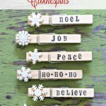 Stamped Christmas Clothespins