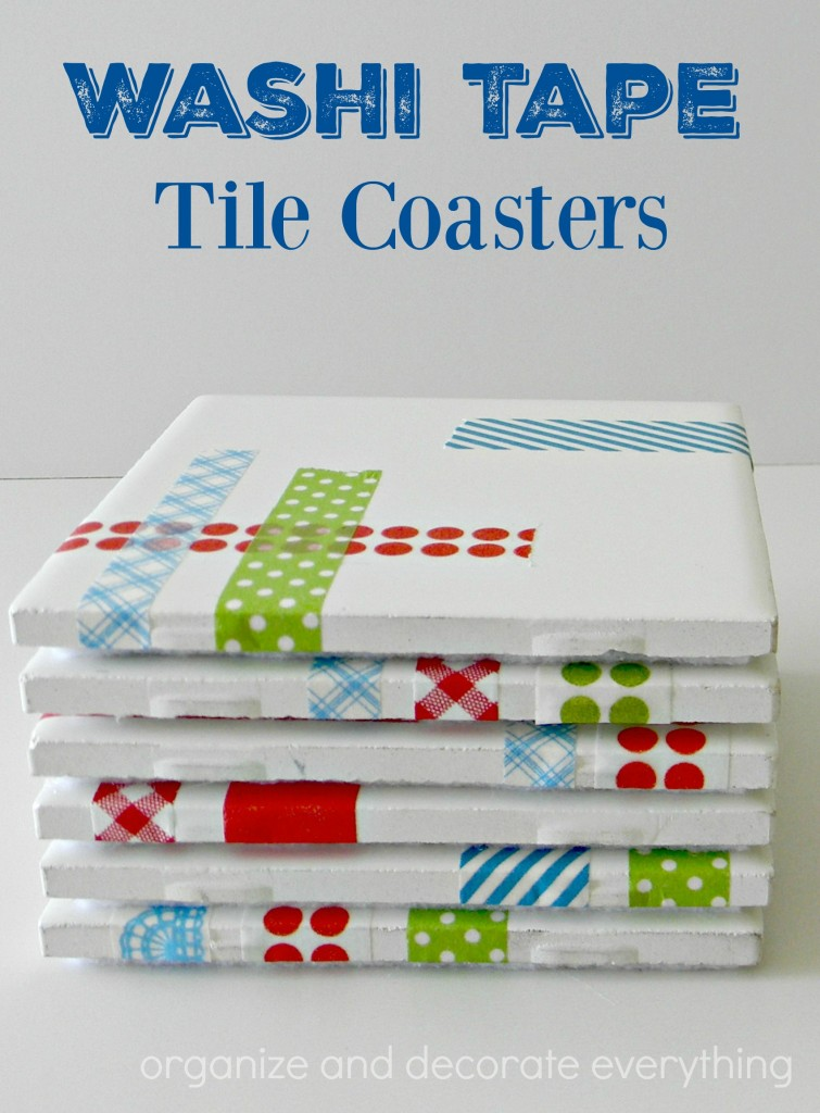 washi tape tile coasters