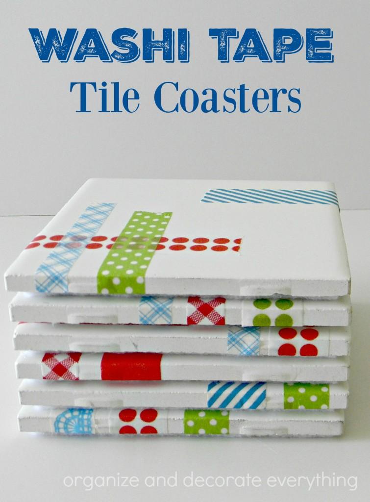 washi tape tile coasters